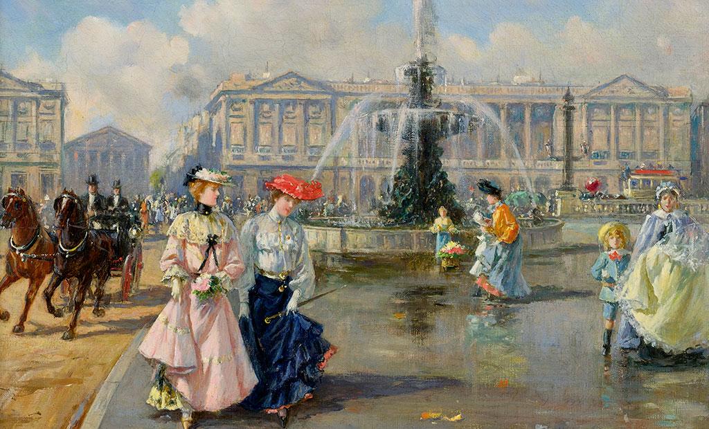 نقاشی از میدان کنکورد پاریس در قرن نوزده میلادی