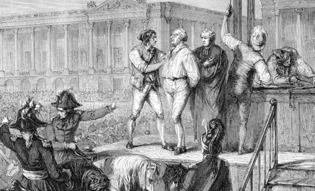 صحنه اعدام شاه لوئی شانزدهم با گیوتین