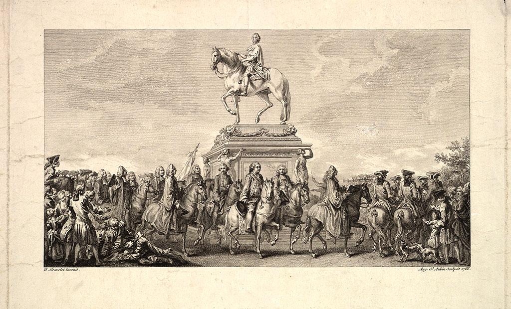 مجسمه سواره لوئی پانزدهم در وسط میدان لوئی پانزدهم