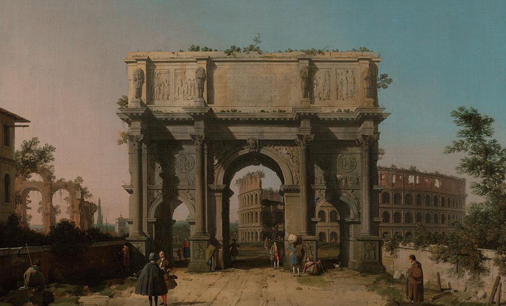 نقاشی از طاق نصرت کنستانتین در ابتدای راه ورودی به شهر رم