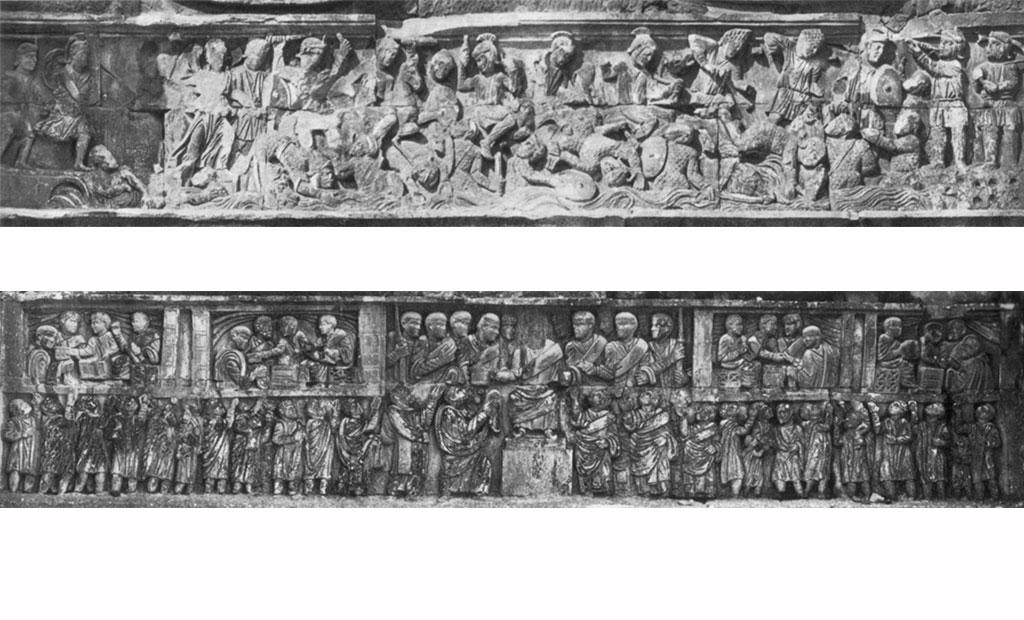 نقوش برجسته تزئینی نشان دهنده سربازان کنستانتین