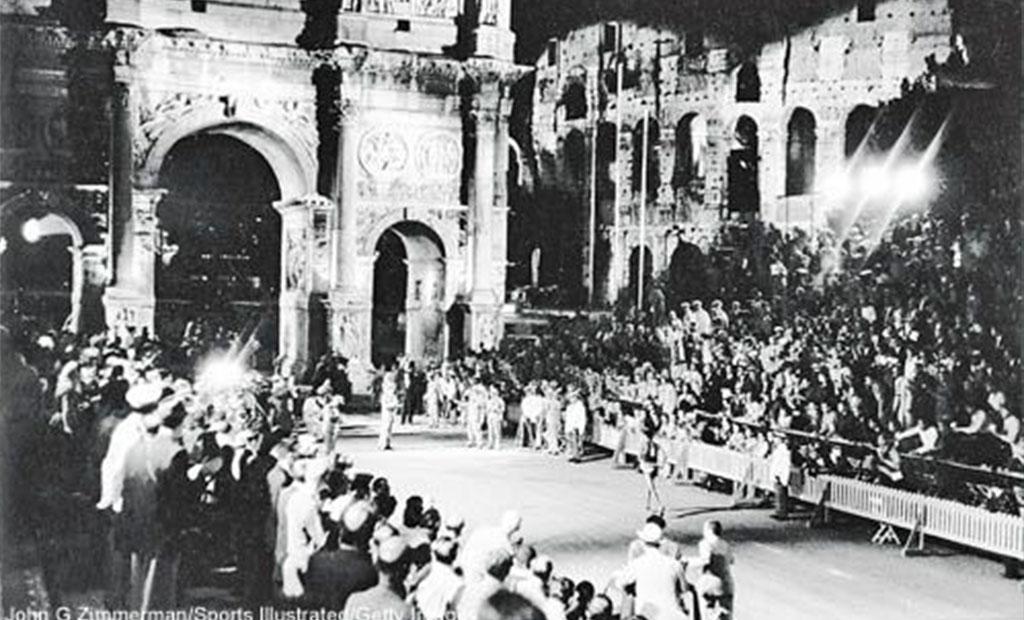 خط پایان مسابقه دو ماراتن المپیک 1960 رم