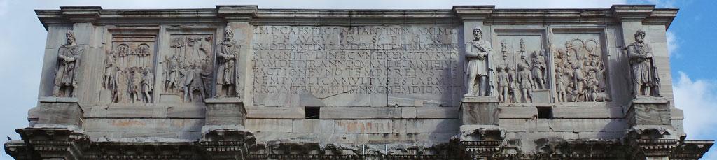 سنگ نگاره های تزئینی و کتیبه ساخت طاق نصرت کنستانتین