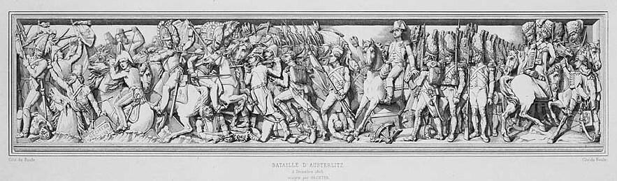 نقش برجسته نمای بیرونی طاق نصرت پاریس، جنگ Austerlitz، 2 دسامبر 1805