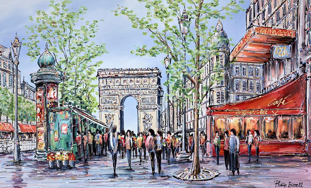 نقاشی آبرنگ از خیابان شانزلیزه پاریس