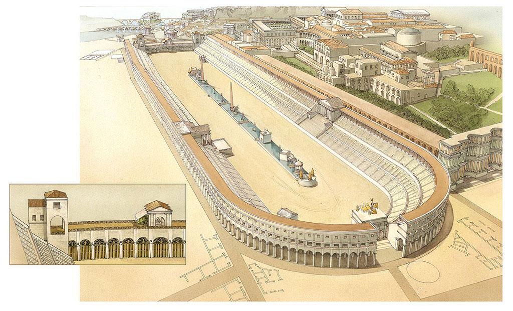 نمای بازسازی شده از استادیوم ماکسیموس در شهر رم