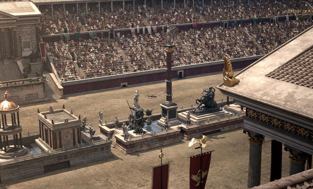مجسمه ها و ستون هایی که در اسپینا در مرکز زمین مسابقه نصب شده اند