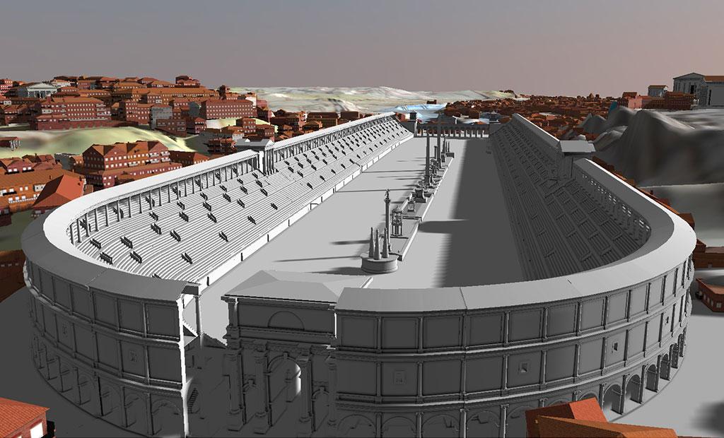 تصویر بازسازی شده از استادیوم ماکسیموس در شهر رم
