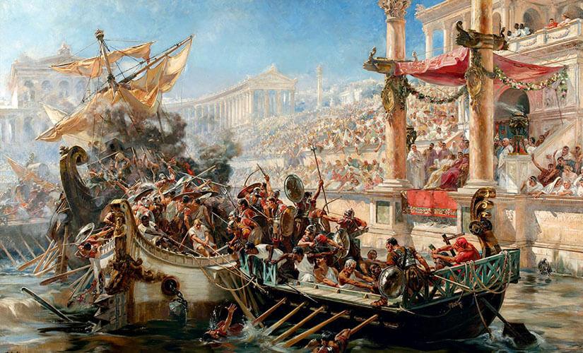 تصویری فرضی از نبردهای دریایی برگزار شده در کولوسئوم