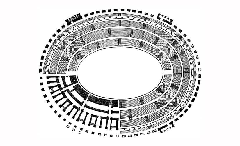 نقشه آمفی تئاتر کولوسئوم به شکل بیضی