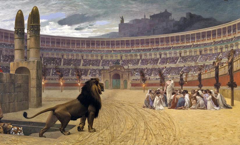 مسیحیانی که در کولوسئوم شکنجه و توسط حیوانات درنده کشته می شدند