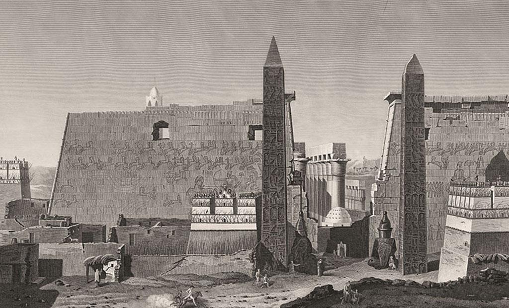 نقاشی قدیمی از معبد لوکسور یا الاقصر مصر