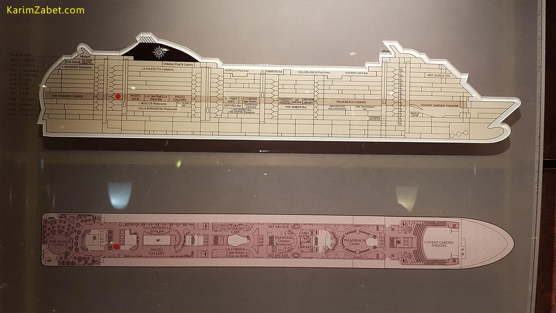 نقشه کشتی و محل دقیق قرارگیری شما که با نقطه قرمز نشان داده شده است در کنار همه ی آسانسورها قرار گرفته است