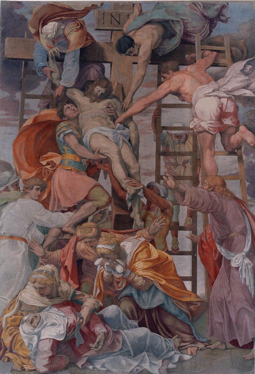 نقاشی پایین آوردن عیسی از صلیب اثر دانیل دا ولترا در کلیسای ترینیتا دی مونتی