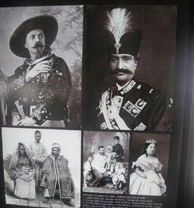 عکسی از ناصرالدین شاه قاجار در طبقه دوم برج ایفل در میان پادشاهان و خانواده های اشرافی که از ایفل بازدید کرده بودند.