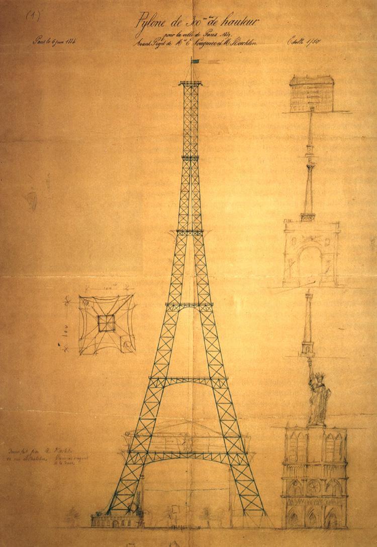 نقشه اولیه برج ایفل که در آن ارتفاع برج با کلیسای نوتردام، برج وندوم و طاق نصرت پاریس مقایسه شده است.