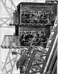 آسانسورهای برج ایفل که یکی از جدیدترین ابداعات در زمان افتتاح برج بودند