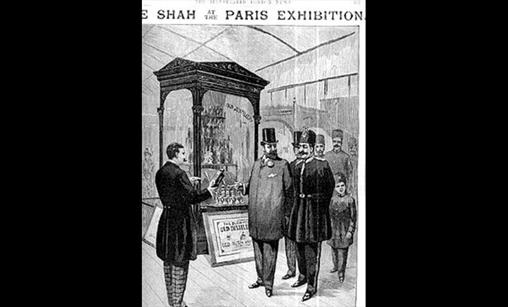 ناصرالدین شاه قاجار در بازدید از نمایشگاه جهانی ۱۸۸۹ پاریس
