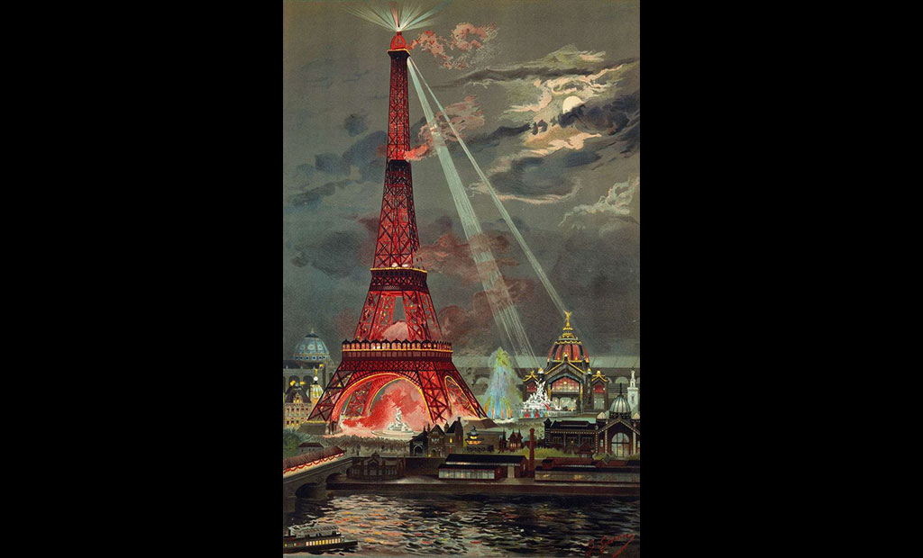 برج ایفل در ورودی نمایشگاه جهانی 1889 پاریس