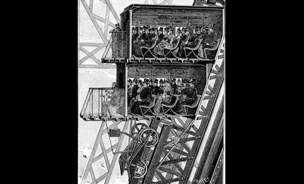 آسانسورهای برج ایفل که یکی از جدیدترین اختراعات در زمان افتتاح برج بودند