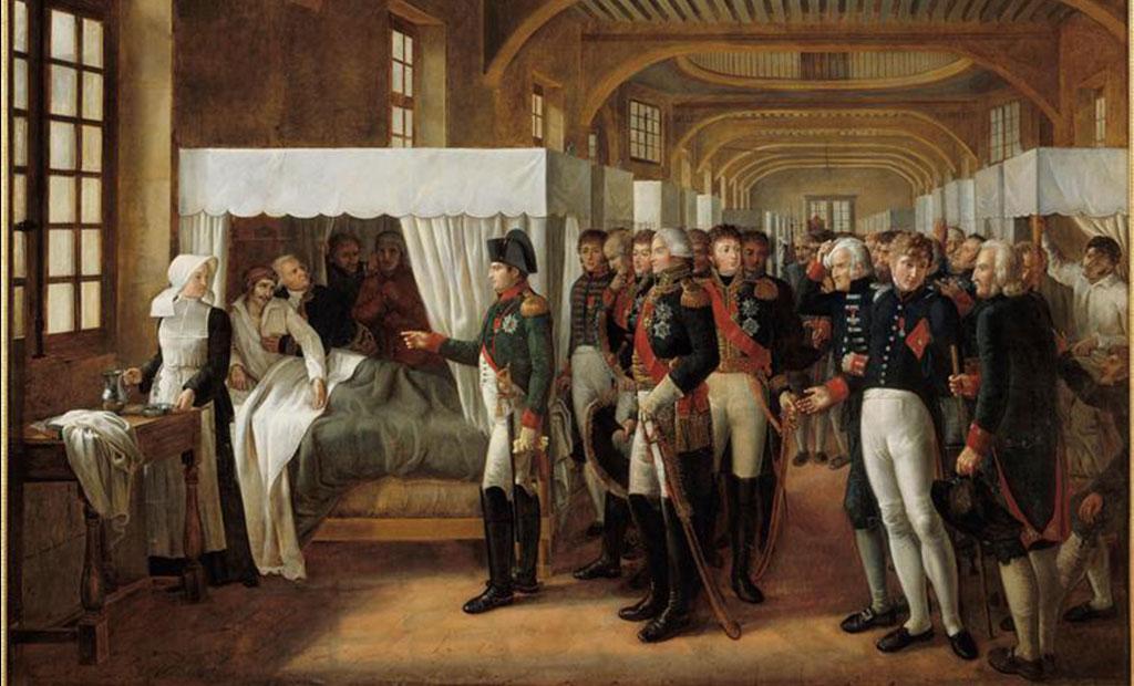 نقاشی از ناپلئون در حال بازدید از مجروحان جنگی در هتل انولید