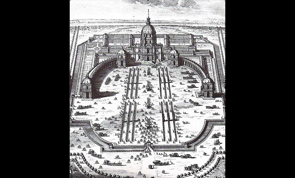 طرح ستون بند و حیاط سلطنتی که قرار بود در جلوی کلیسای گنبد انولید ساخته شود