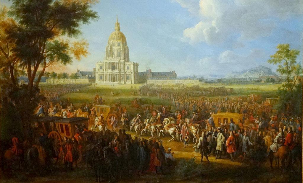حضور لوئی چهاردهم برای افتتاح کلیسای گنبد انولید در 28 آگوست 1706