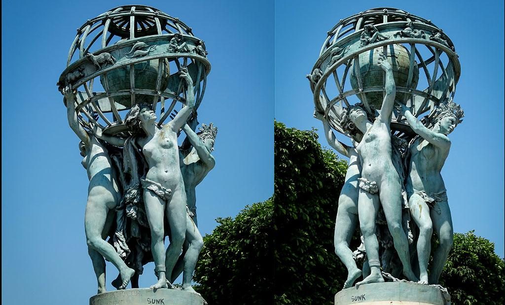 مجسمه های فواره کارپو در انتهای باغ ابزرواتوار