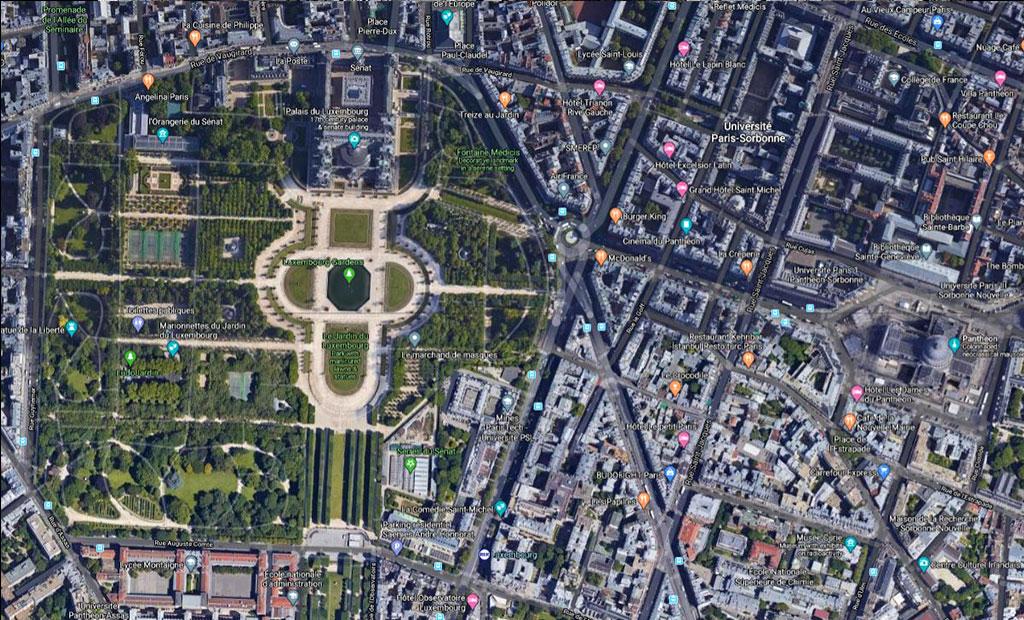 نقشه هوایی باغ لوگزامبورگ پاریس در مجاورت پانتئون