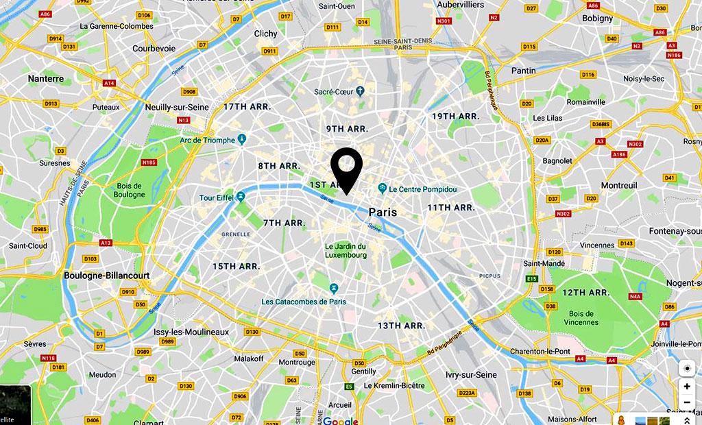 نقشه موزه لوور در منطقه 1 شهر پاریس