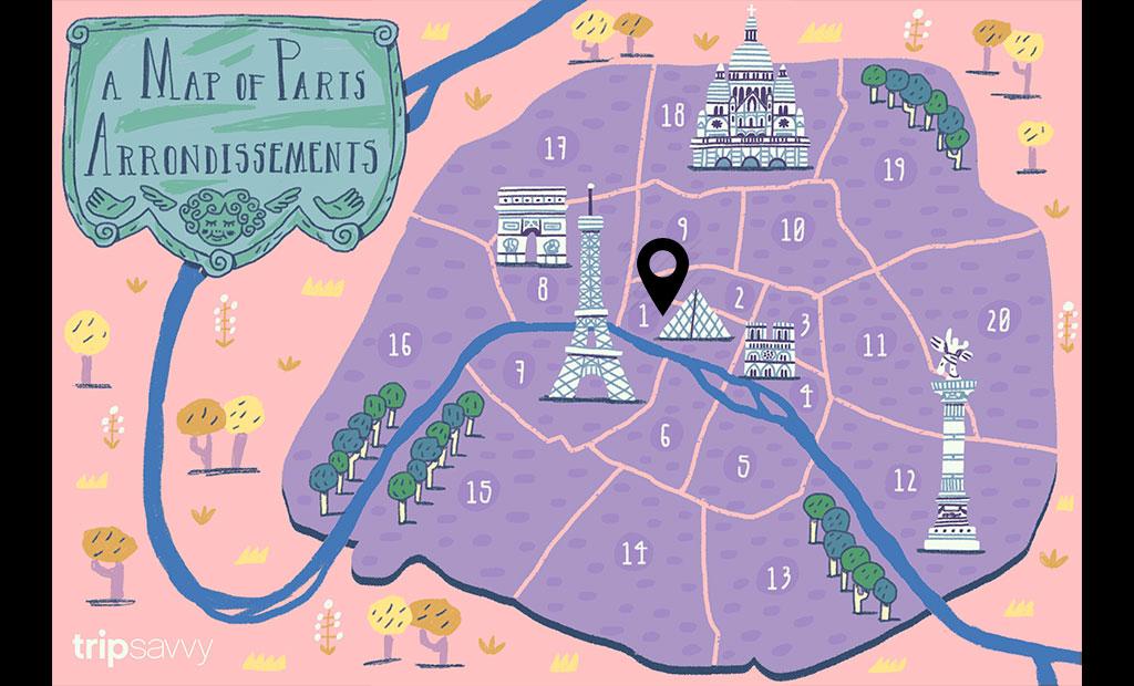 نقشه اماکن توریستی شهر پاریس