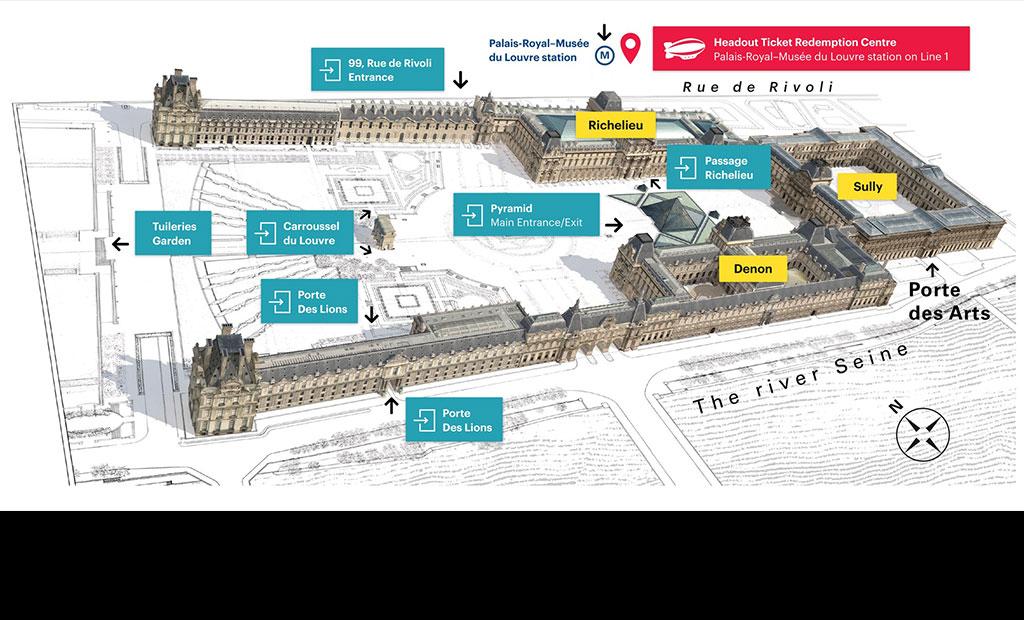 نقشه ورودی های موزه لوور