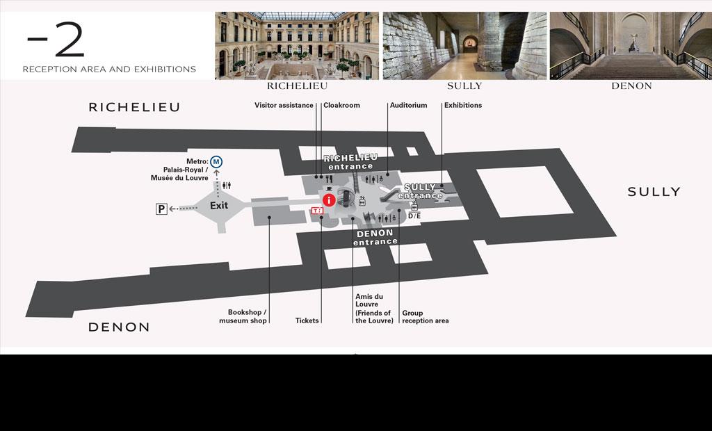 نقشه طبقه منفی 2 موزه لوور
