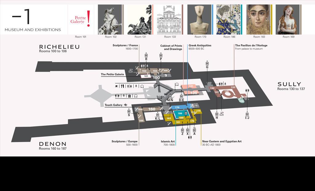 نقشه طبقه منفی 1 موزه لوور