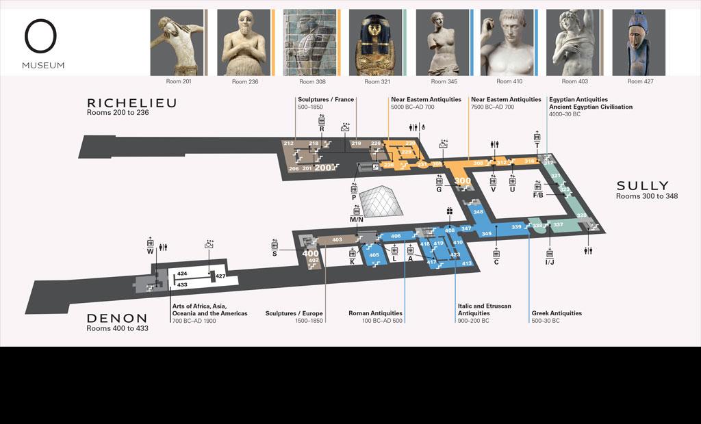 نقشه طبقه همکف موزه لوور