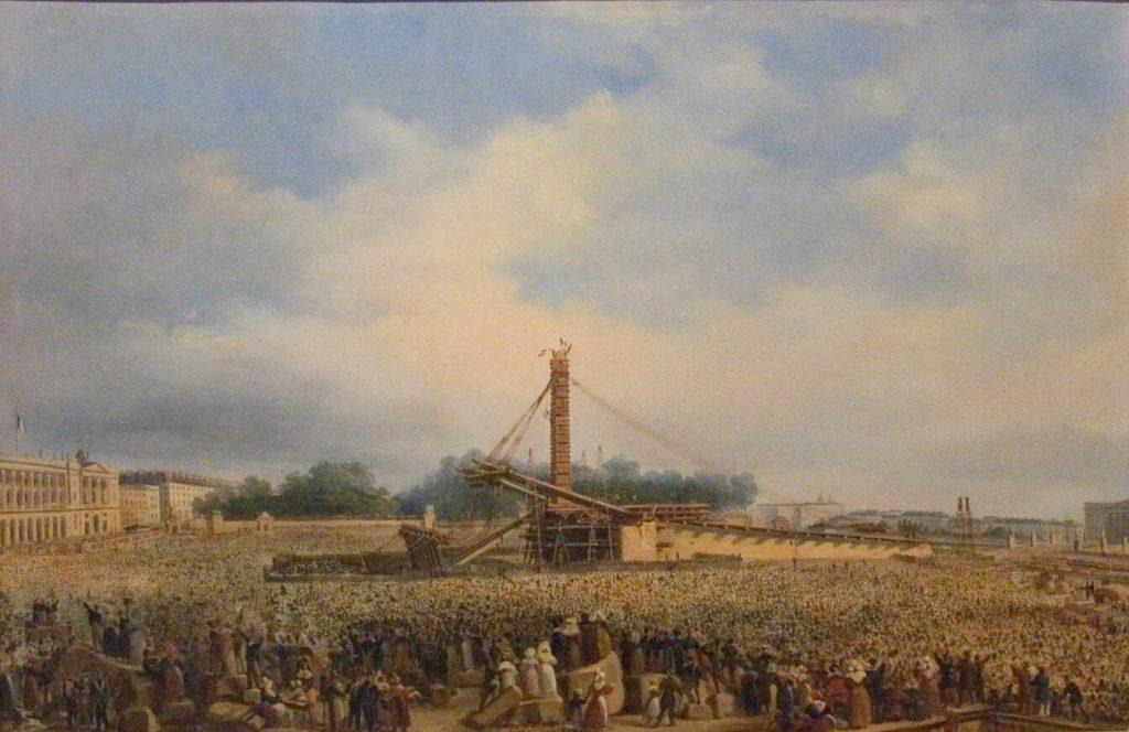 ابلیسک الاقصر بعد از 3 سال به پاریس رسید و در 25 اکتبر 1836 در حضور شاه لوئی فیلیپ و جمعیت مشتاق حاضر در مرکز میدان کنکورد برافراشته و نصب شد.