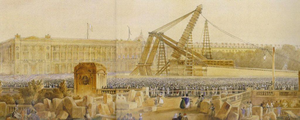نقاشی لحظه برافراشته شدن ابلیسک میدان کنکورد در 25 اکتبر 1836.