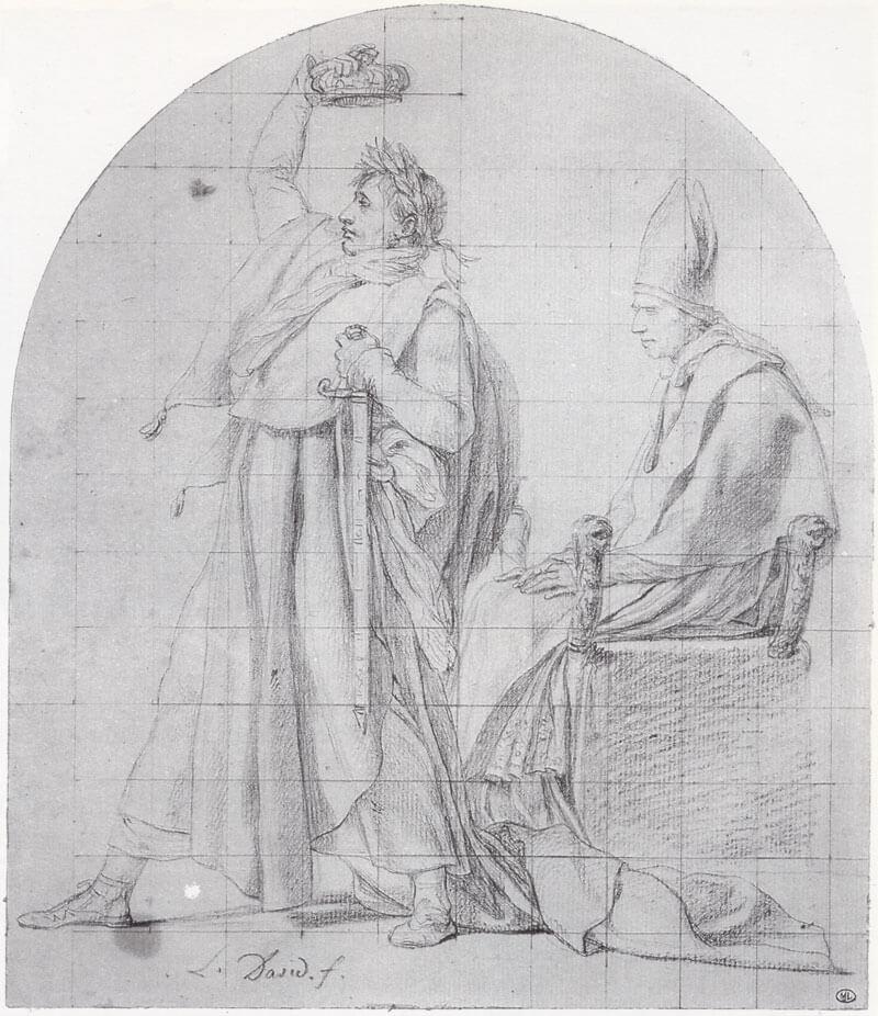 طرح اولیه داوید که ناپلئون را در حال تاجگذاری خودش نشان می دهد