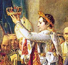 امپراتور ناپلئون به سبک امپراتوران روم باستان تاجی از برگ بو بر سرش گذاشته است
