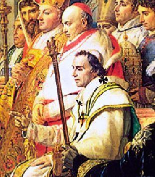 پاپ پیوس هفتم که از رم به پاریس آورده شد تا برای تقدیس تاجگذاری ناپلئون در مراسم حضور یابد