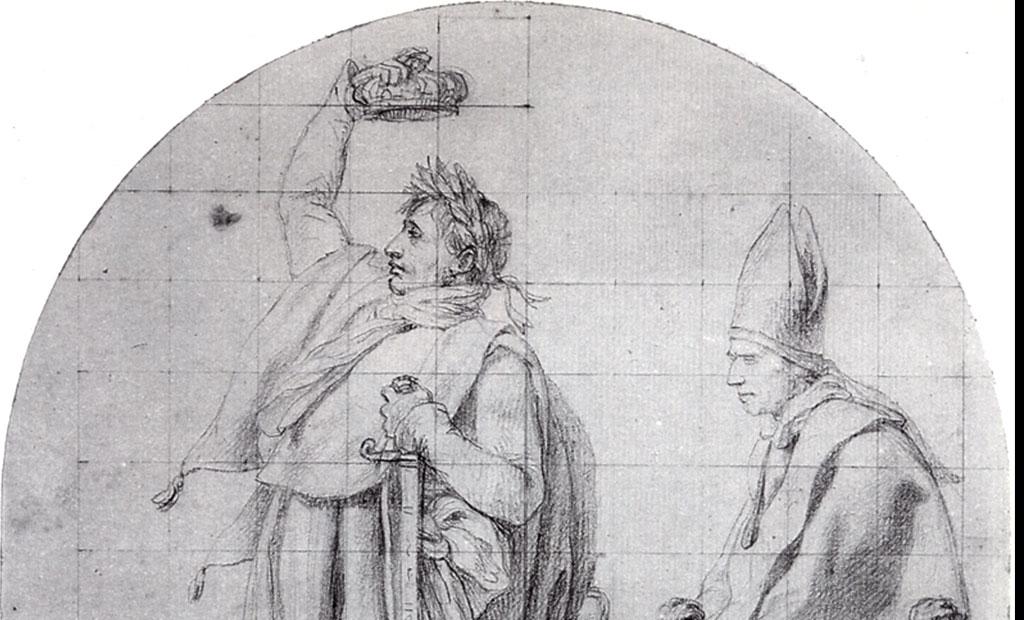 طرح اولیه که در آن ناپلئون در حال تاجگذاری خود است