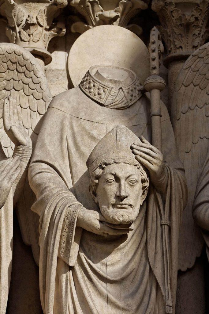 مجسمه سن دنی، نمای غربی کلیسای نوتردام پاریس