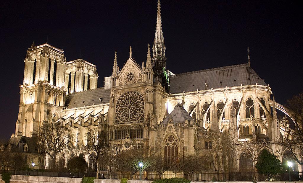 نمای جنوبی کلیسای نوتردام پاریس
