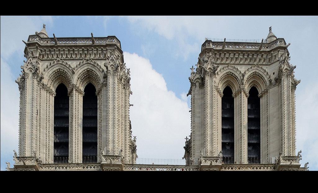 برج های ناقوس و گالری شیمراها در کلیسای نوتردام پاریس