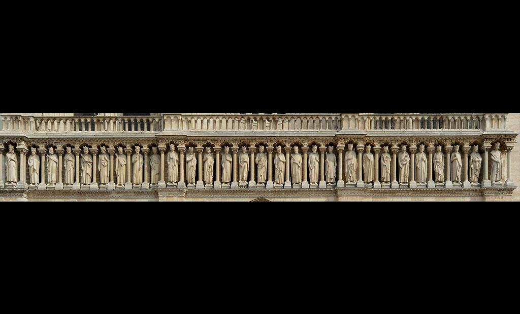 گالری پادشاهان بنی اسرائیل در نمای غربی کلیسای نوتردام