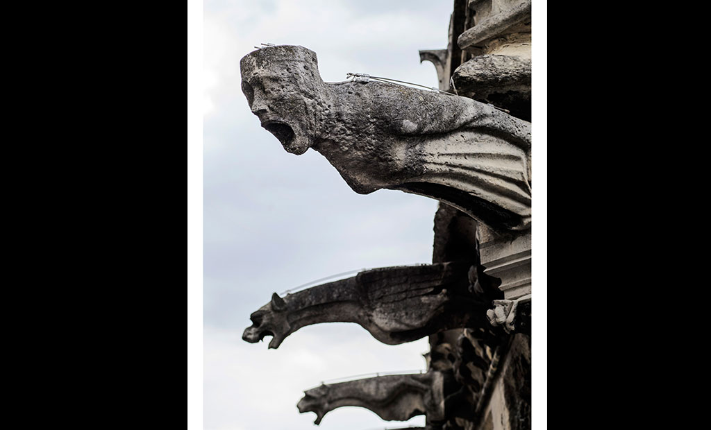 مجسمه های گارگویل در نمای خارجی کلیسای نوتردام