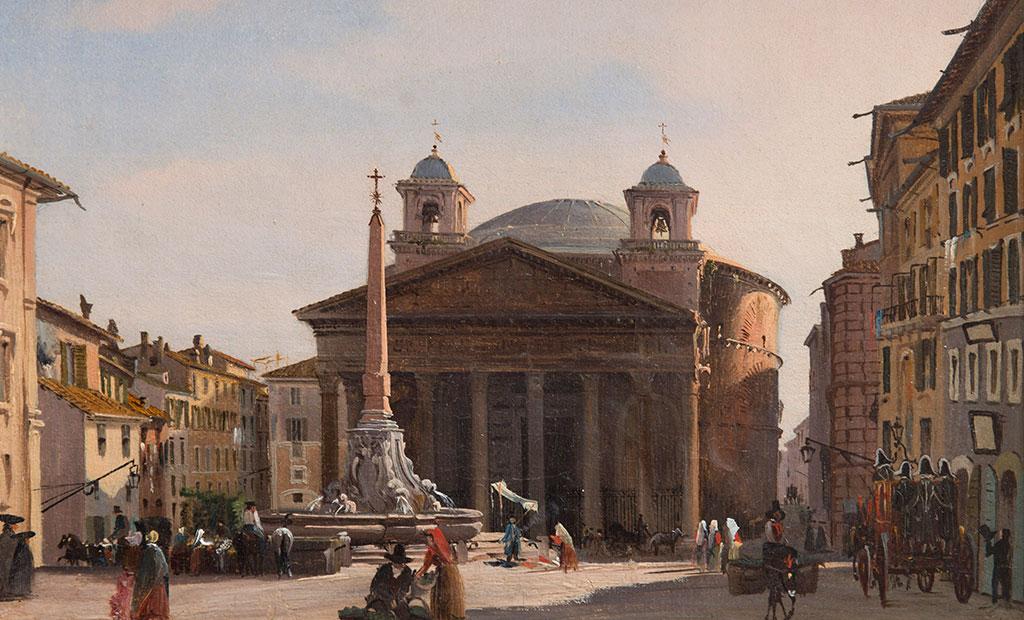 نقاشی قدیمی از معبد پانتئون رم
