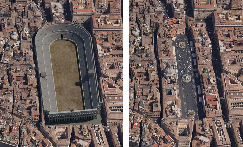 نمای هوایی از میدان ناوونا که بر روی بقایی استادیوم دومیتین ساخته شده