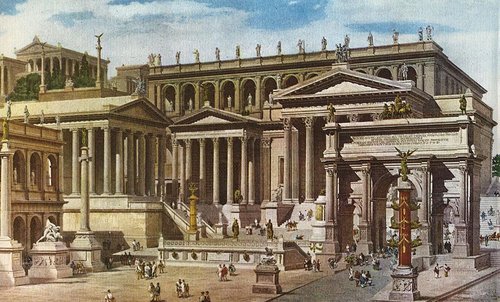 نمای بازسازی شده رومان فروم در دوران باستان