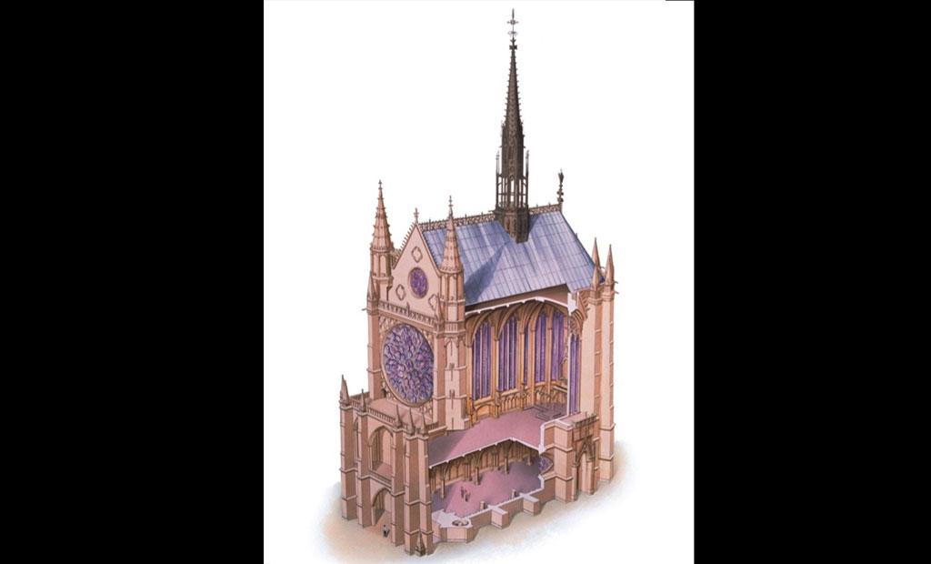 نمای برش خورده کلیسای دو طبقه سن شاپل